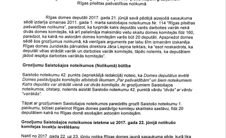 JKP un citas valstiskās partijas vēršas VARAM ar aicinājumu izvērtēt Rīgas domes nule pieņemto nolikumu