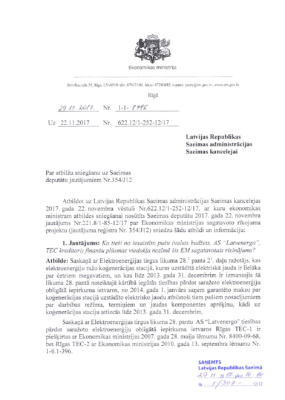 Ekonomikas ministrijas atbilde Saeimai