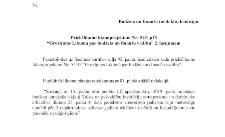 G.Eglīša un R.Znotiņa sagatavotais priekšlikums budžeta grozījumiem